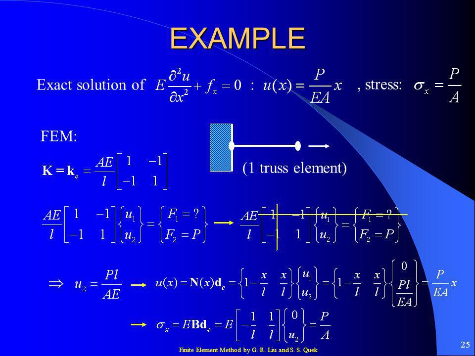 EXAMPLE Exact solution of : , stress: FEM: (1 truss element) 