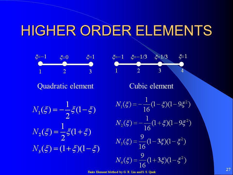 HIGHER ORDER ELEMENTS Quadratic element Cubic element