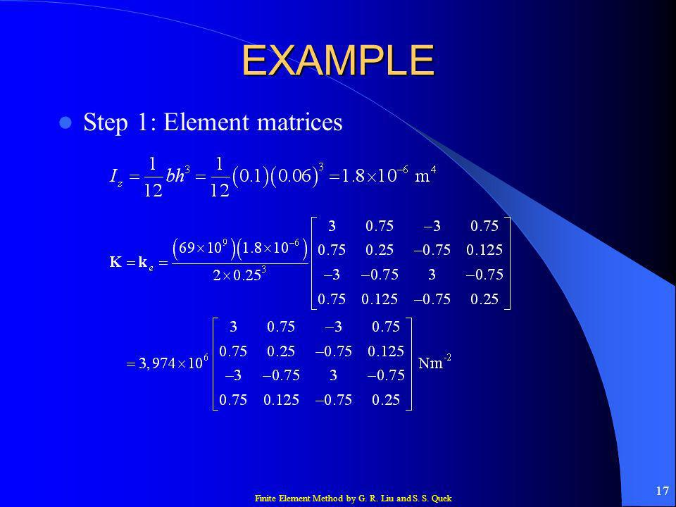 EXAMPLE Step 1: Element matrices