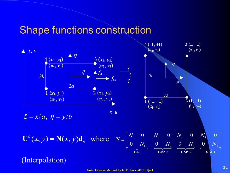 Shape functions construction