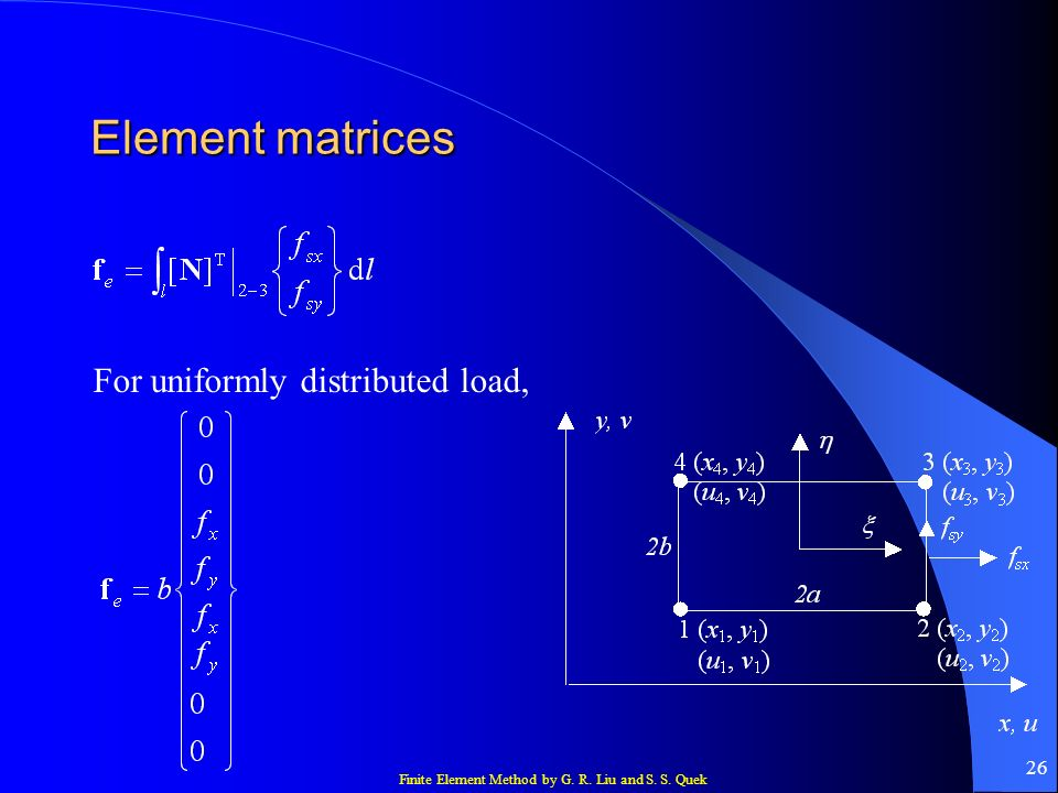 Element matrices For uniformly distributed load,