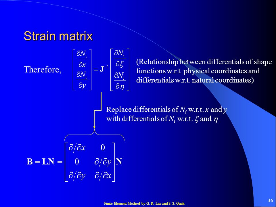 Strain matrix Therefore,