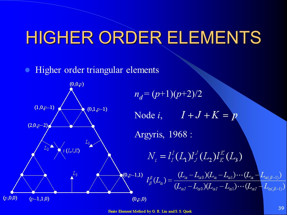 HIGHER ORDER ELEMENTS Higher order triangular elements