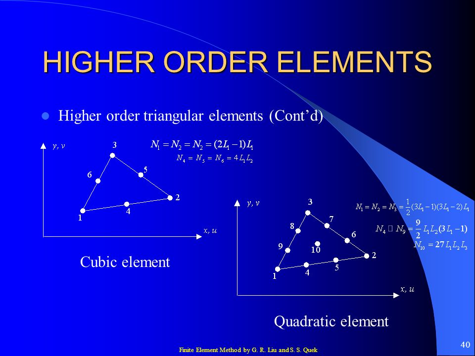HIGHER ORDER ELEMENTS Higher order triangular elements (Cont'd)