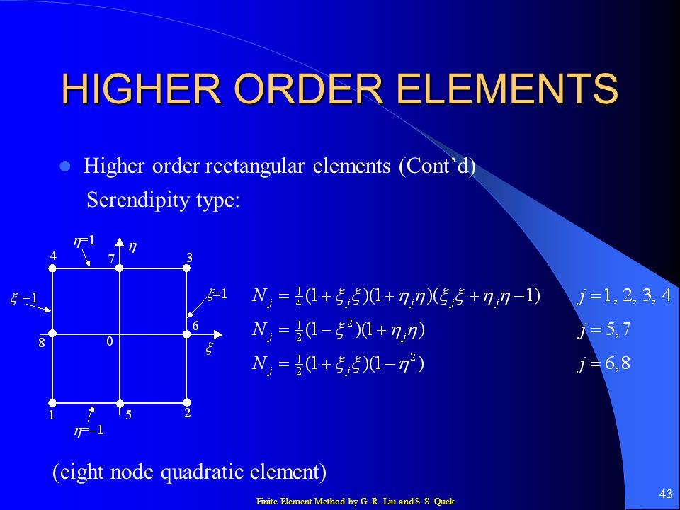 HIGHER ORDER ELEMENTS Higher order rectangular elements (Cont'd)