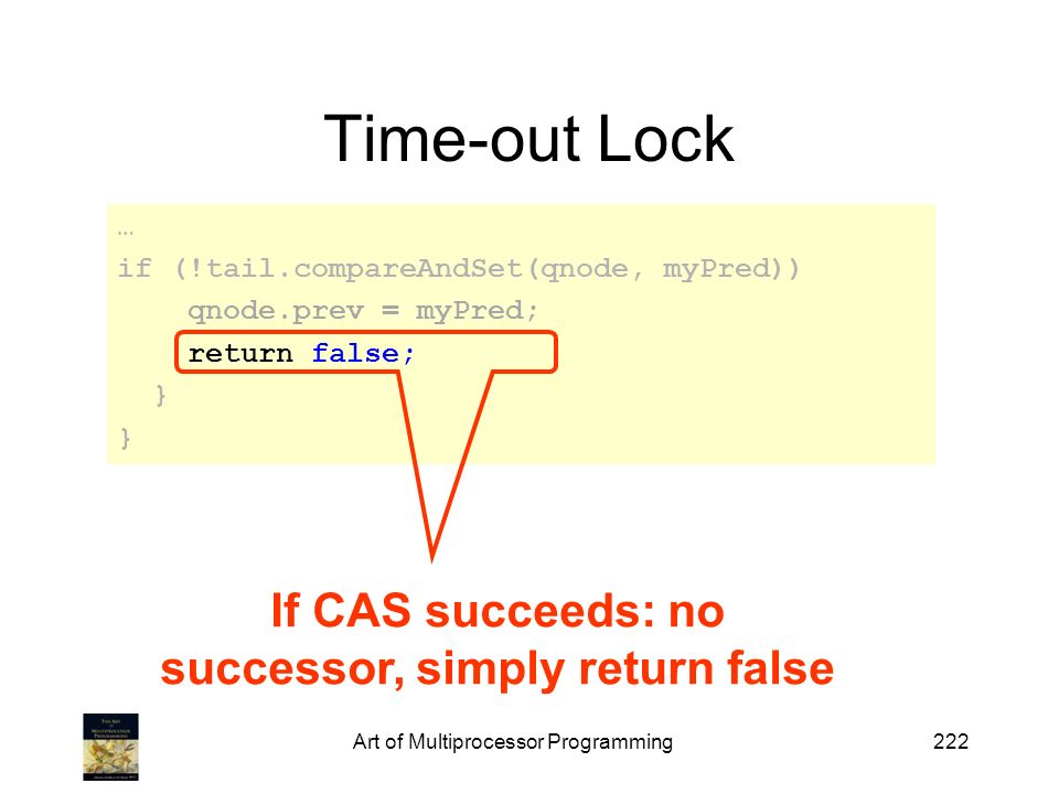 If CAS succeeds: no successor, simply return false
