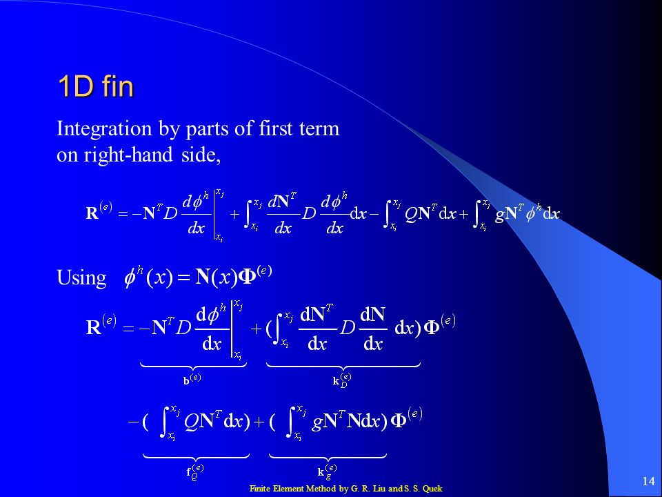 1D fin Integration by parts of first term on right-hand side, Using