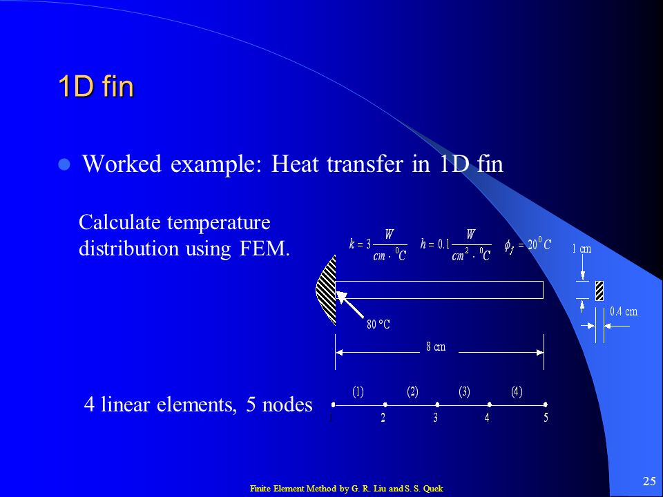 1D fin Worked example: Heat transfer in 1D fin
