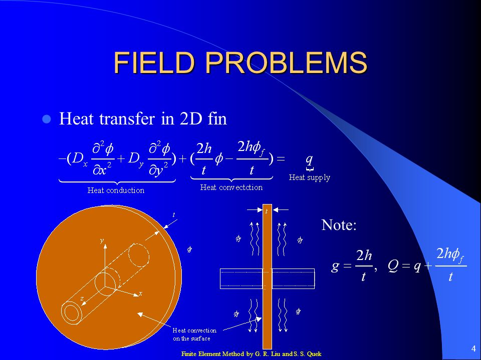 FIELD PROBLEMS Heat transfer in 2D fin Note: