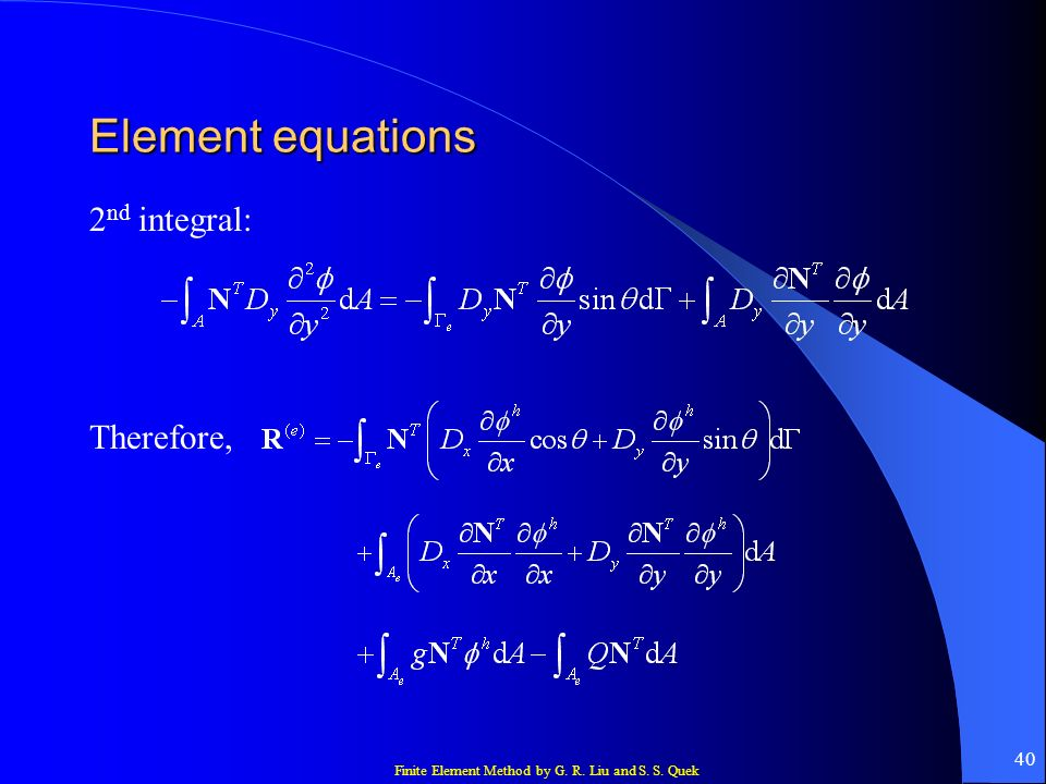 Element equations 2nd integral: Therefore,