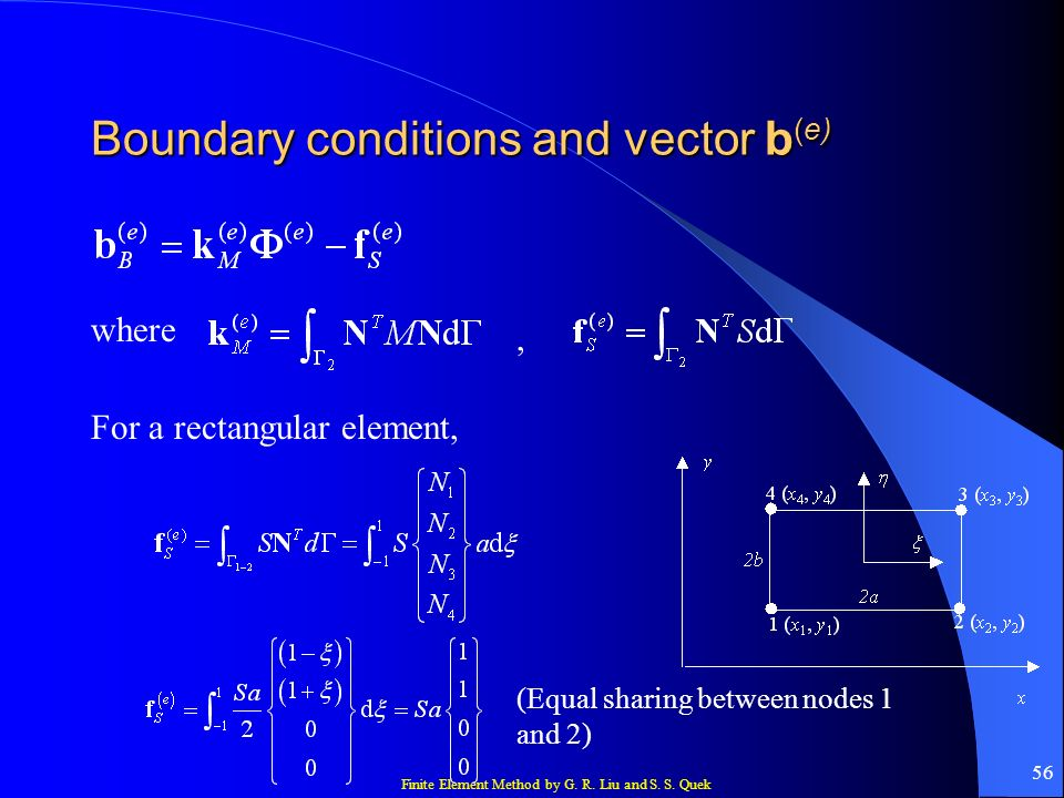 Boundary conditions and vector b(e)