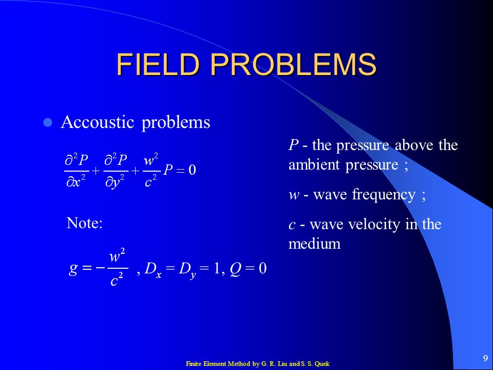 FIELD PROBLEMS Accoustic problems