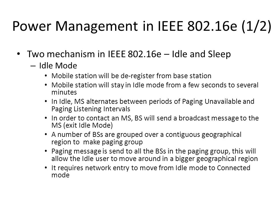 Power Management in IEEE 802.16e (1/2)