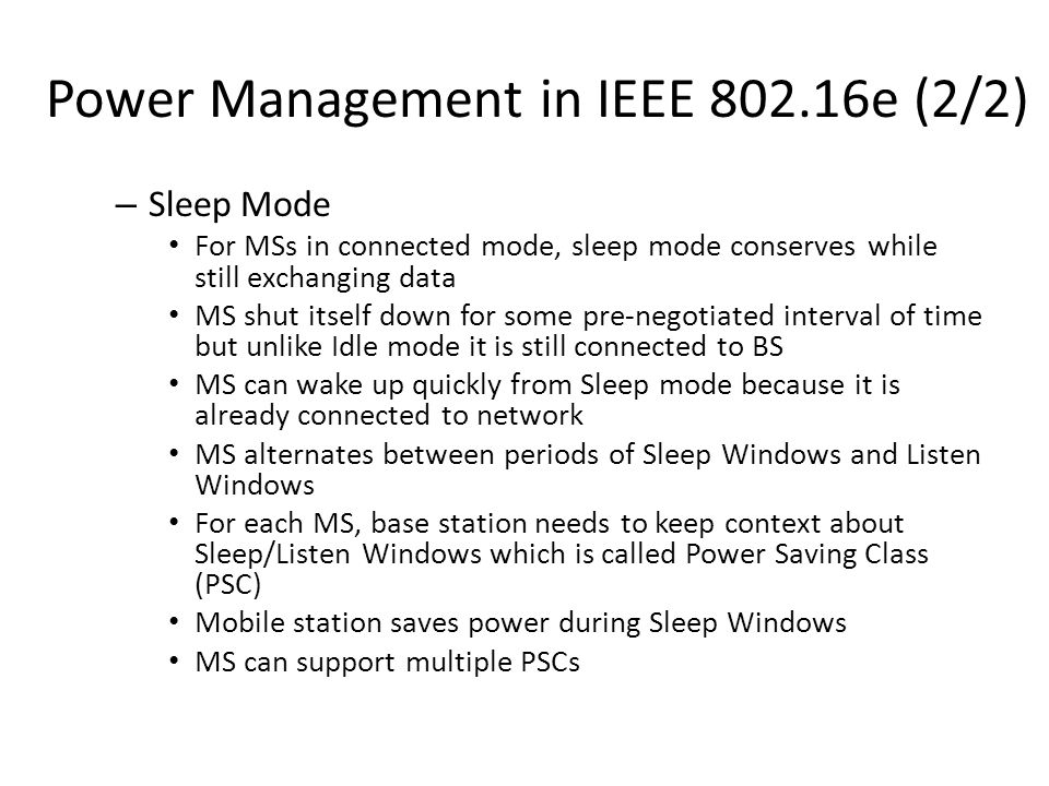 Power Management in IEEE 802.16e (2/2)
