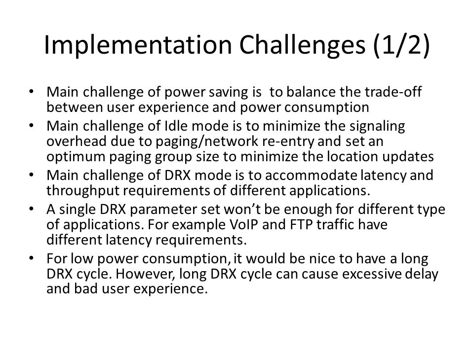 Implementation Challenges (1/2)
