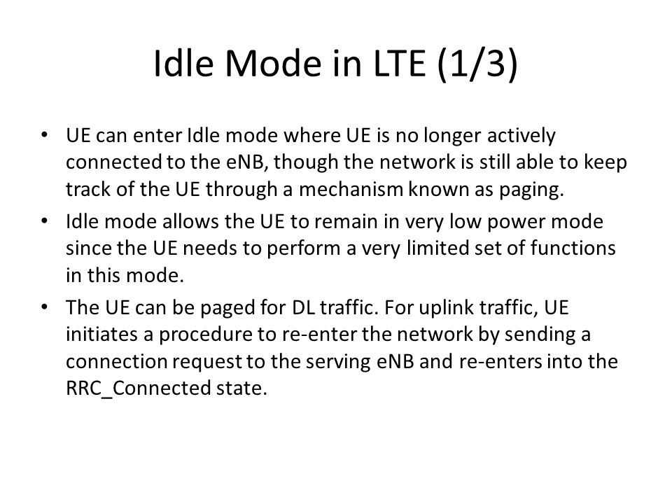 Idle Mode in LTE (1/3)