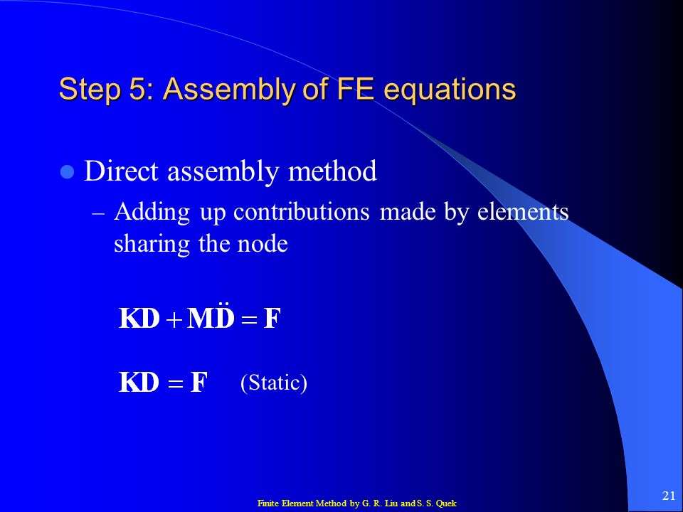 Step 5: Assembly of FE equations