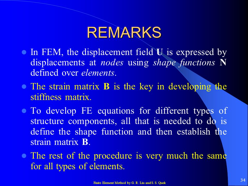 REMARKS In FEM, the displacement field U is expressed by displacements at nodes using shape functions N defined over elements.
