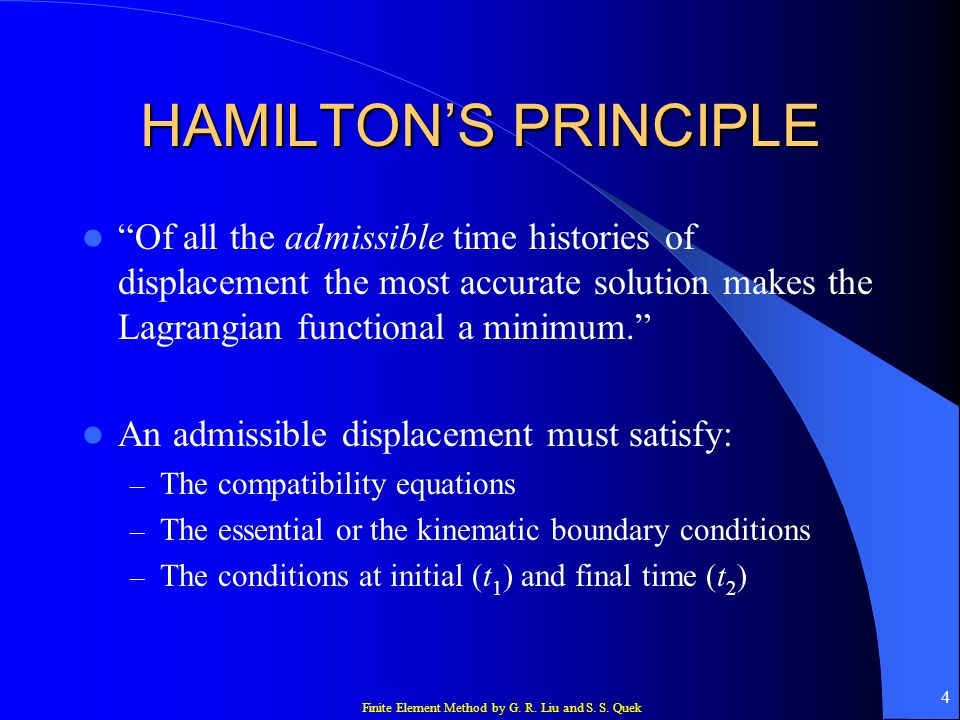 HAMILTON'S PRINCIPLE Of all the admissible time histories of displacement the most accurate solution makes the Lagrangian functional a minimum.
