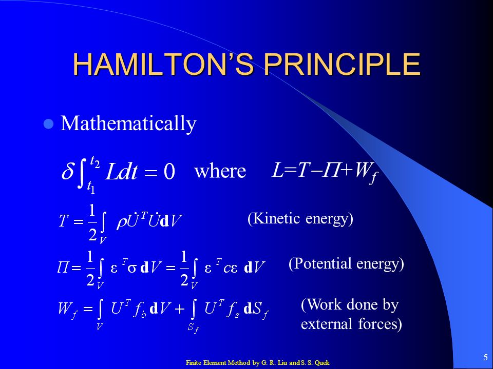 HAMILTON'S PRINCIPLE Mathematically where L=T-P+Wf (Kinetic energy)