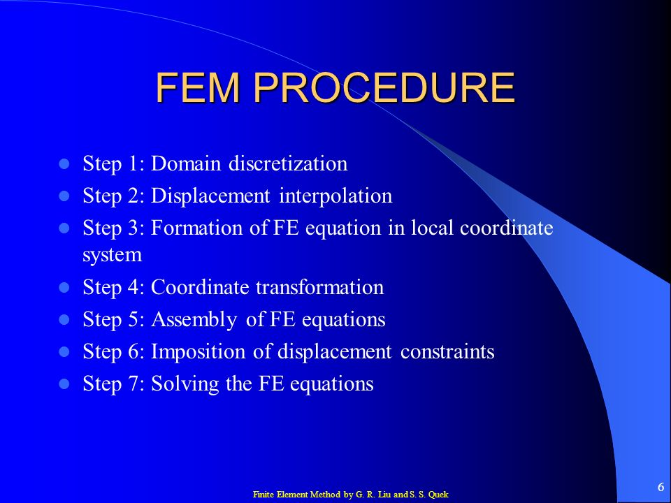 FEM PROCEDURE Step 1: Domain discretization