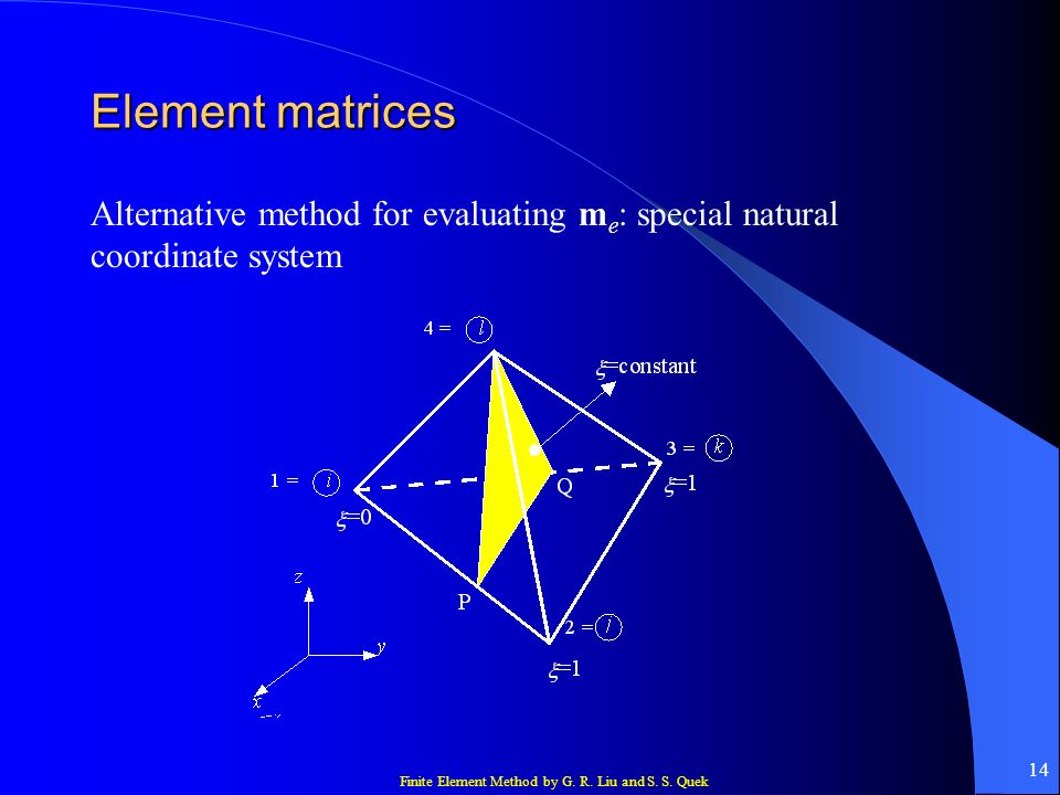 Element matrices Alternative method for evaluating me: special natural coordinate system