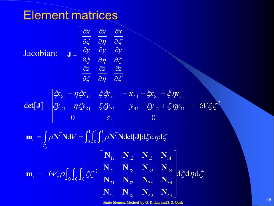 Element matrices Jacobian: