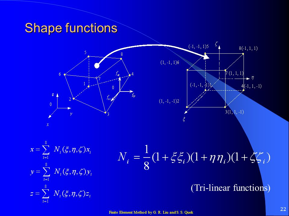 Shape functions (Tri-linear functions)