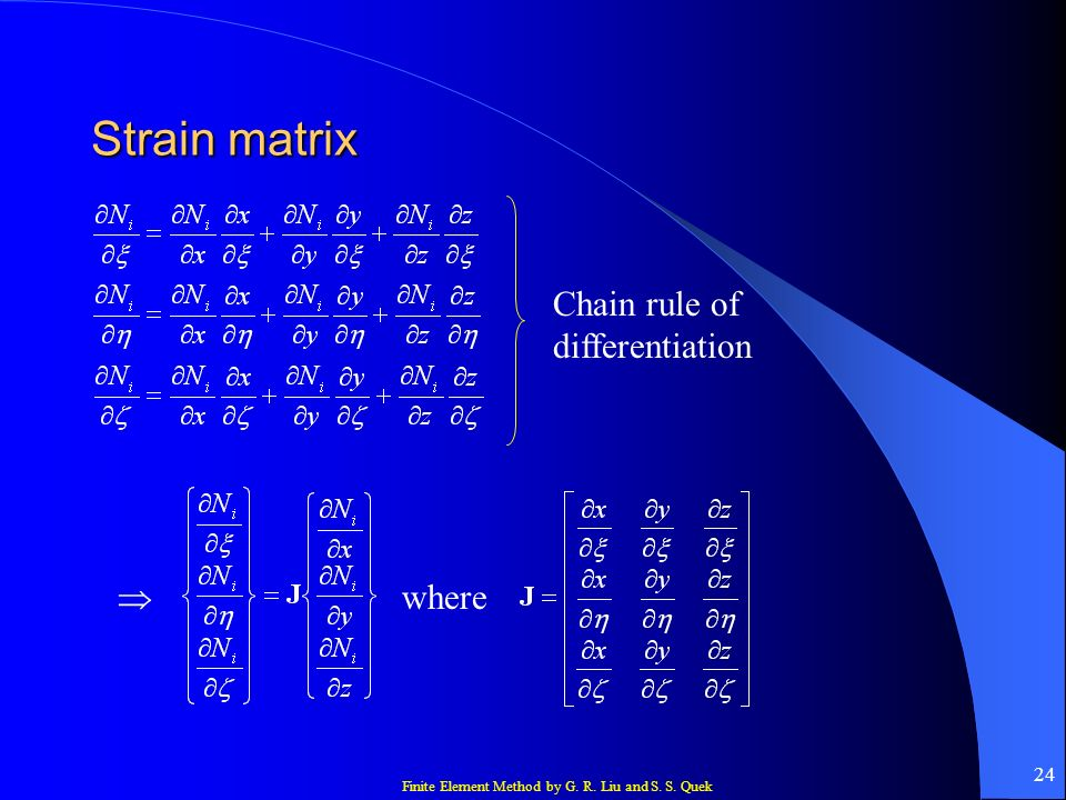 Strain matrix Chain rule of differentiation  where