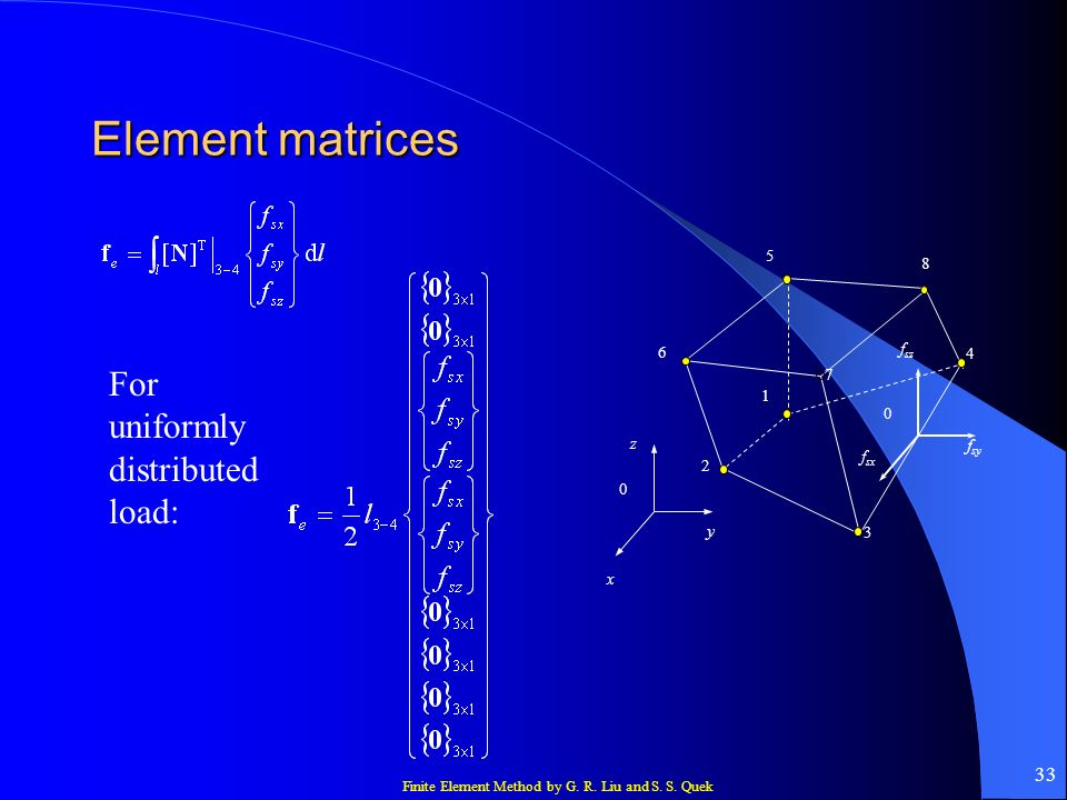 Element matrices For uniformly distributed load: fsy y 5 8 6 fsz 4 7 1