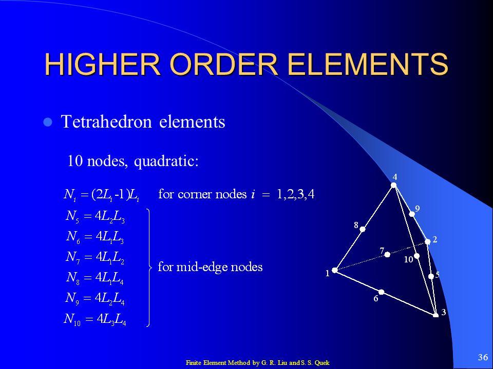 HIGHER ORDER ELEMENTS Tetrahedron elements 10 nodes, quadratic: