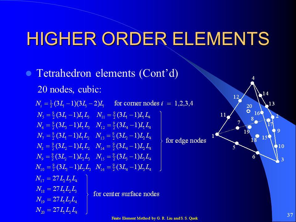 HIGHER ORDER ELEMENTS Tetrahedron elements (Cont'd) 20 nodes, cubic:
