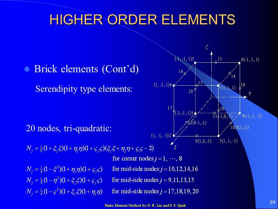 HIGHER ORDER ELEMENTS Brick elements (Cont'd)