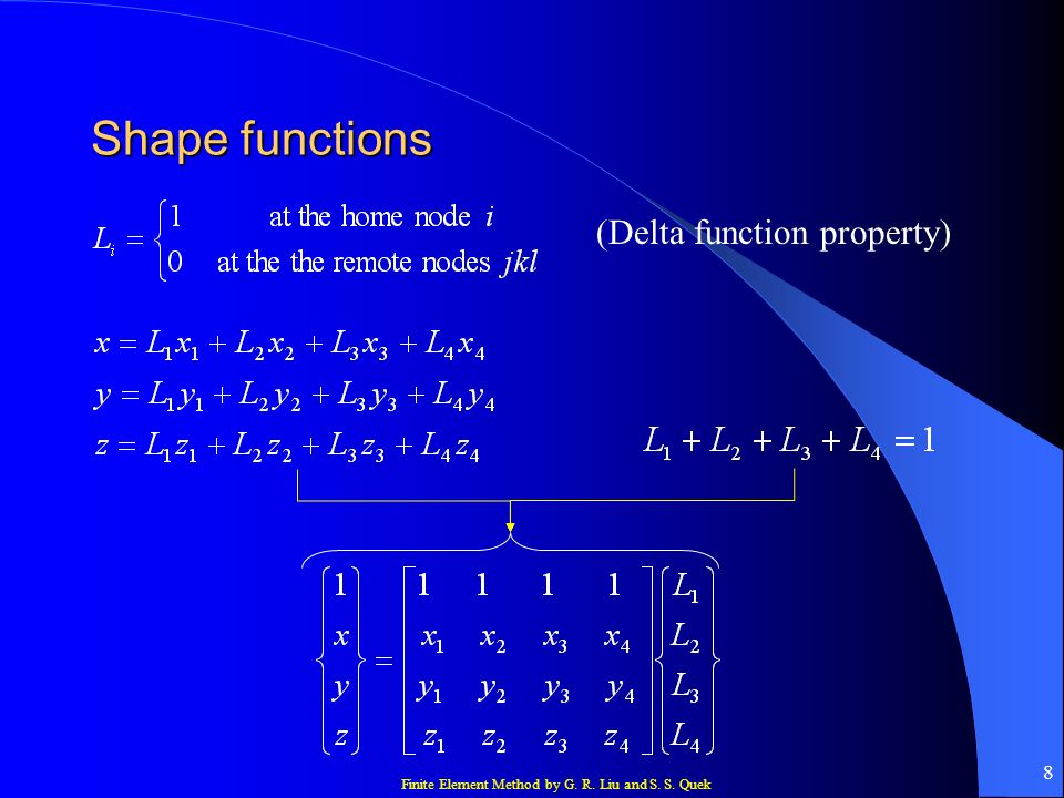 Shape functions (Delta function property)