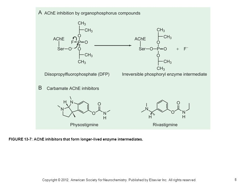 FIGURE 13-7: AChE inhibitors that form longer-lived enzyme intermediates.