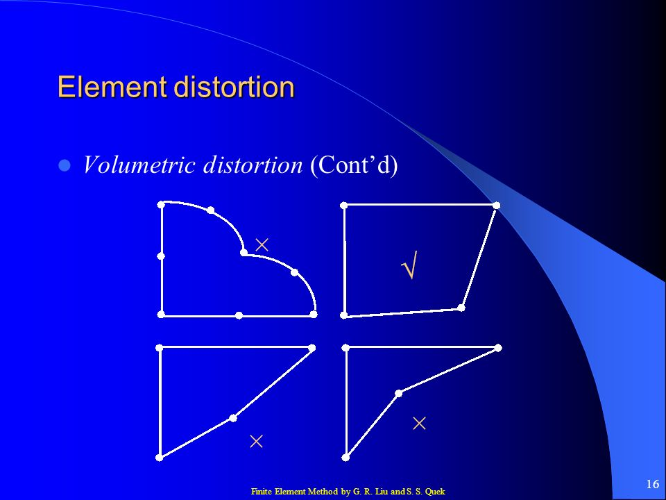 Element distortion Volumetric distortion (Cont'd)