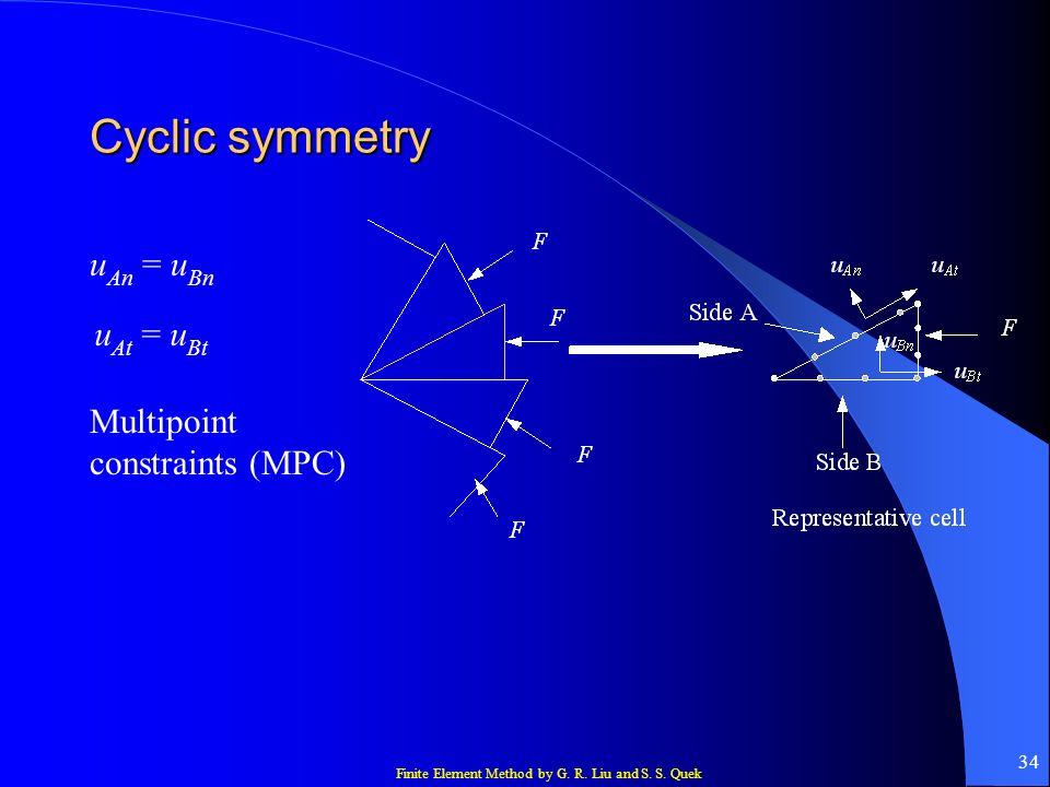 Cyclic symmetry uAn = uBn uAt = uBt Multipoint constraints (MPC)
