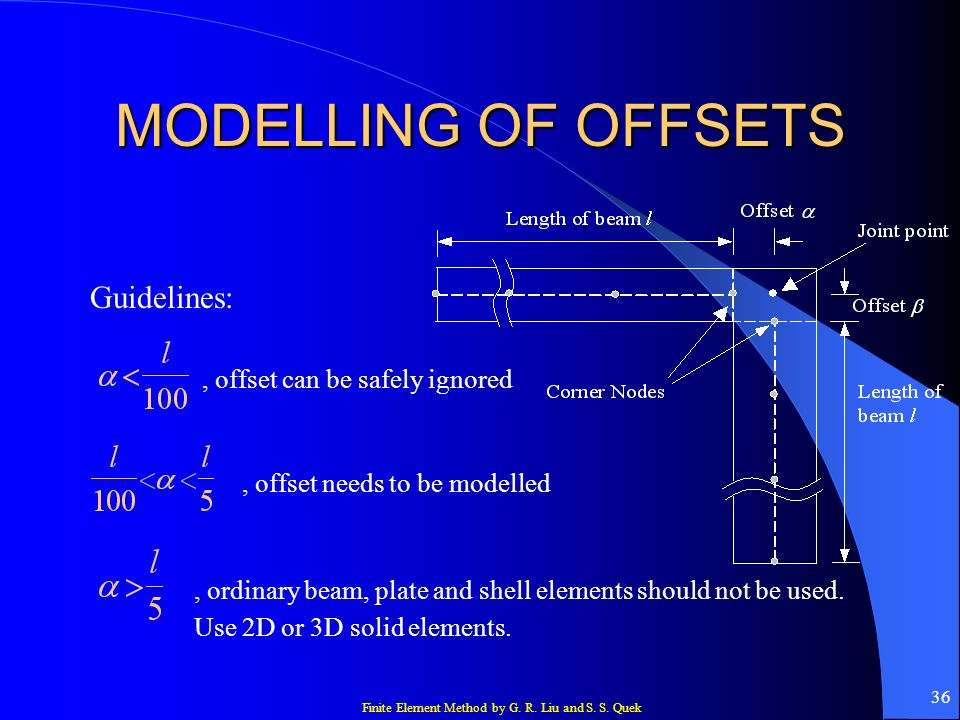 MODELLING OF OFFSETS Guidelines: , offset can be safely ignored