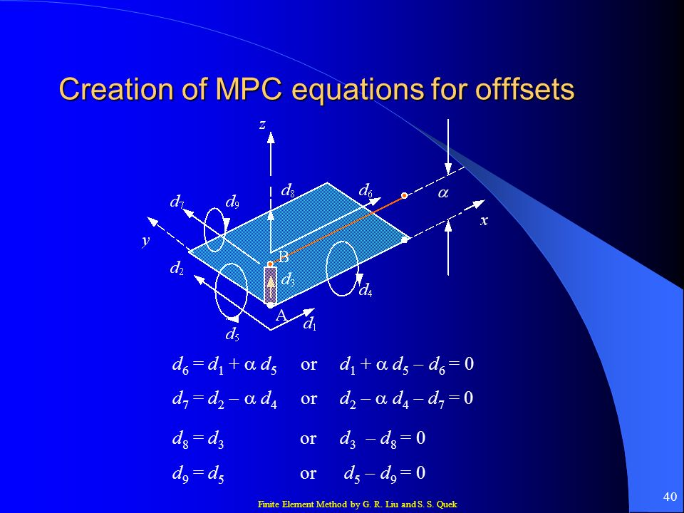 Creation of MPC equations for offfsets