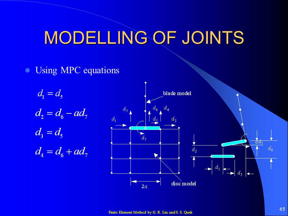MODELLING OF JOINTS Using MPC equations