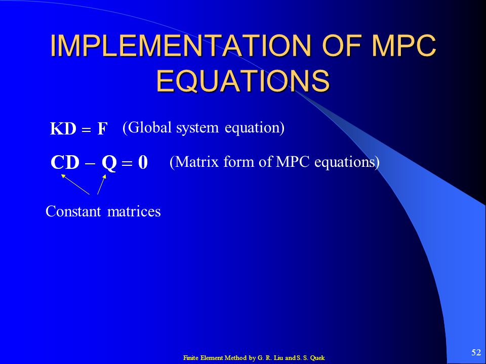 IMPLEMENTATION OF MPC EQUATIONS