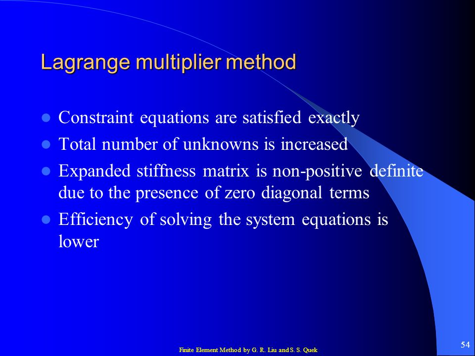 Lagrange multiplier method