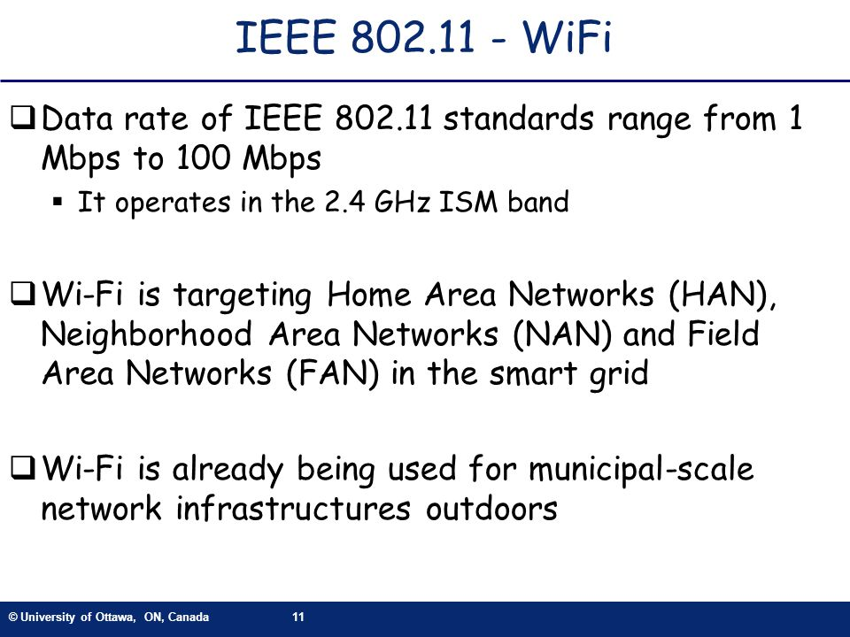 IEEE WiFi Data rate of IEEE standards range from 1 Mbps to 100 Mbps. It operates in the 2.4 GHz ISM band.