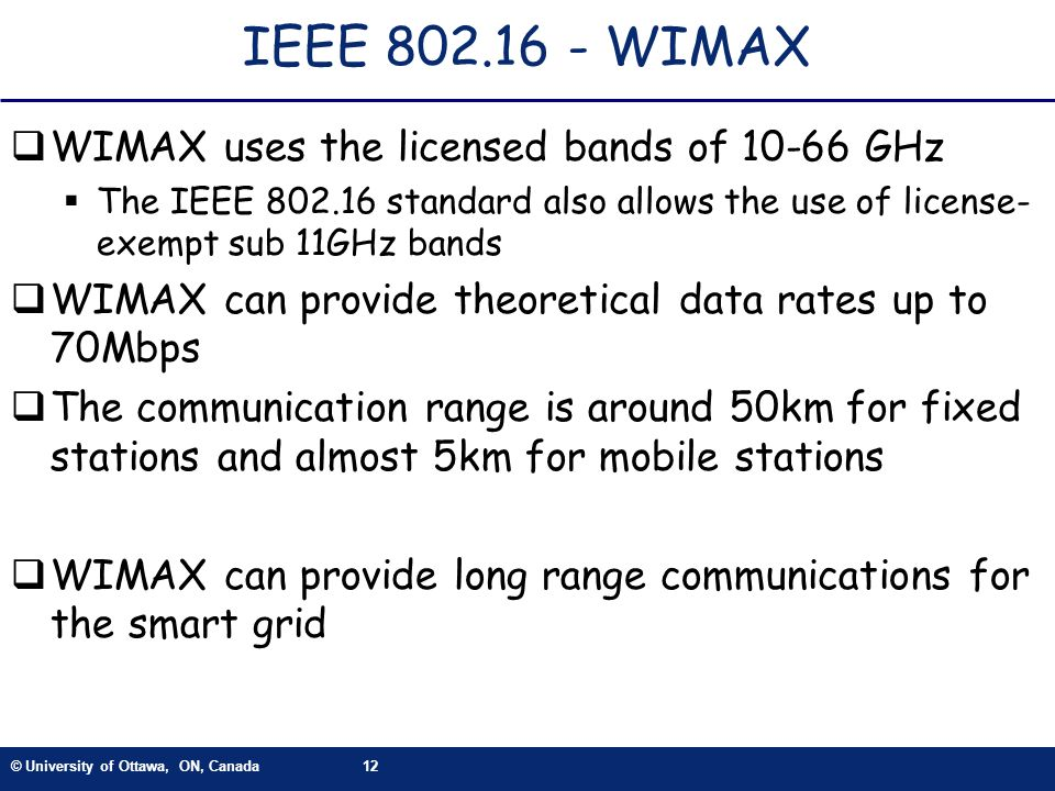 IEEE 802.16 - WIMAX WIMAX uses the licensed bands of 10-66 GHz