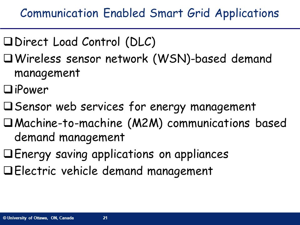 Communication Enabled Smart Grid Applications
