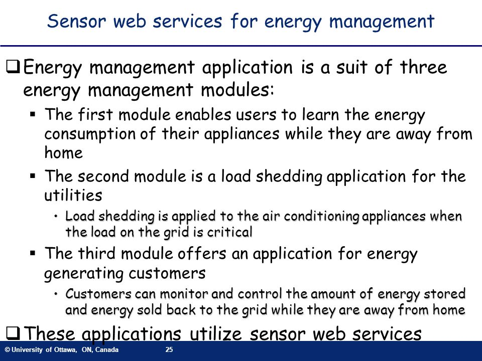 Sensor web services for energy management