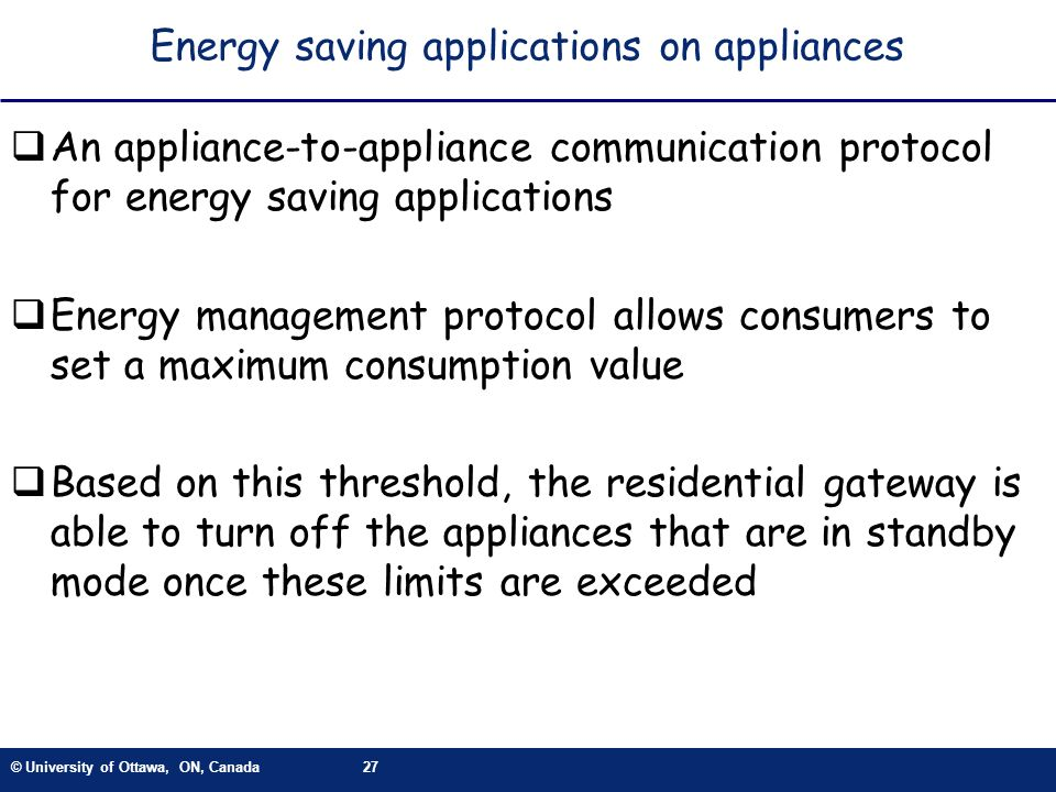 Energy saving applications on appliances