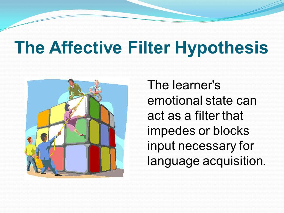 affective filter hypothesis Running head: tsol 531 research paper 1 research paper: the affective filter hypothesis joy iris-wilbanks tsol 531 seattle university november 16, 2013 tsol 531 research paper 2 introduction a filter is something that acts as a way to strain or block material from reaching a container.