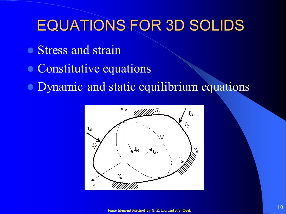 EQUATIONS FOR 3D SOLIDS Stress and strain Constitutive equations