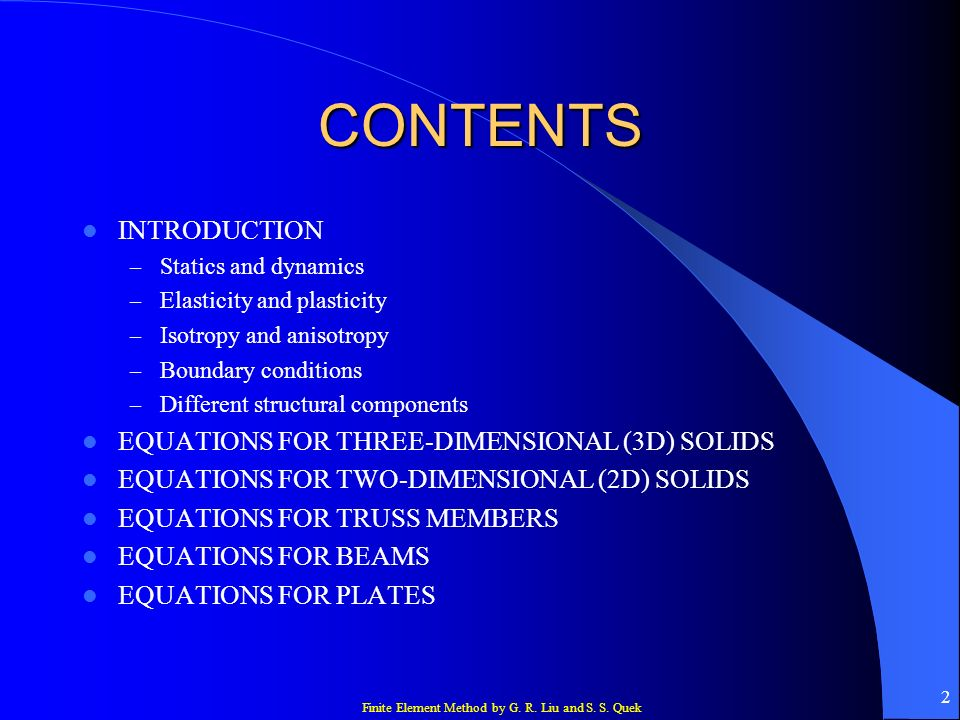 CONTENTS INTRODUCTION EQUATIONS FOR THREE-DIMENSIONAL (3D) SOLIDS